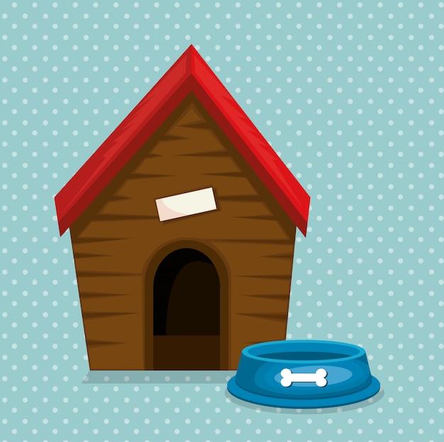 Drewniany dom i maskotka żywności