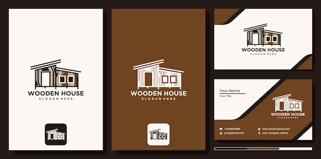 Drewniany dom logo nieruchomości, drewniany dom logotyp linii sztuka wektor. abstrakcyjny projekt logo dla firmy budowlanej lub studia projektowania wnętrz, logo drewnianego domu z wizytówką