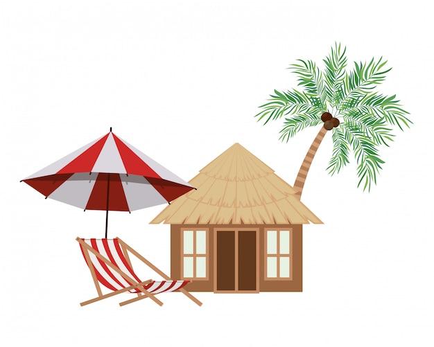 Drewniany dom na plaży