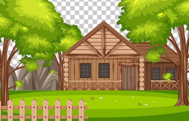 Drewniany dom w scenie przyrody na przezroczystym tle