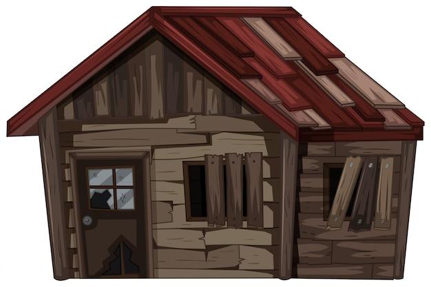 Drewniany dom z bardzo złym stanie