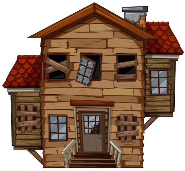 Drewniany dom z złym stanie