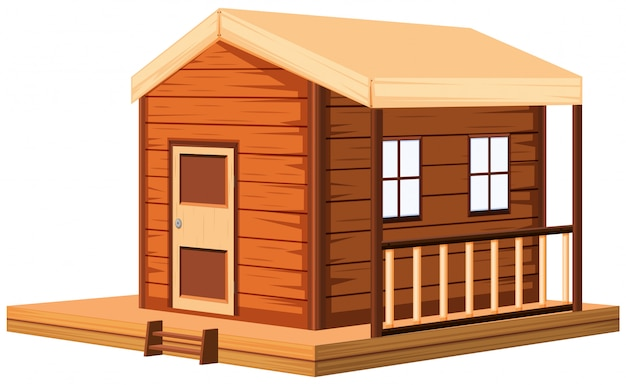 Drewniany domek w 3d