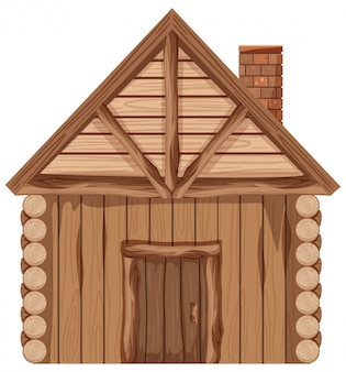 Drewniany domek z kominem na białym tle