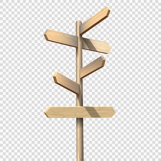 Drewniany drogowskaz na przezroczystym