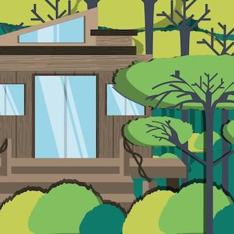 Drewniany eco dom w lesie