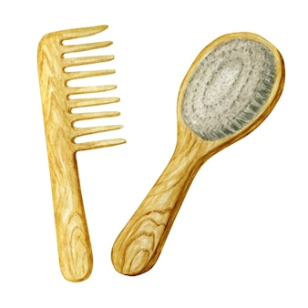Drewniany grzebień z szerokimi zębami do szczotkowania włosów.