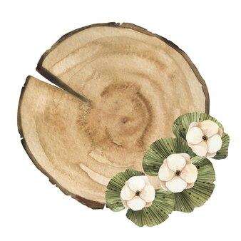 Drewniany kawałek koła z kompozycją kwiatową i liśćmi.