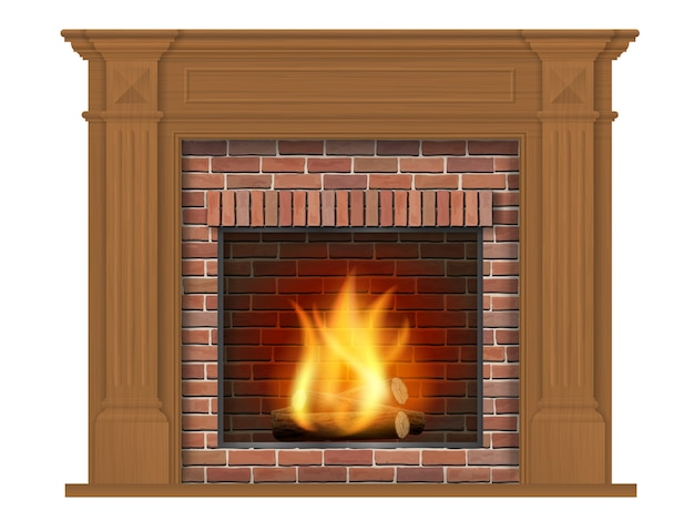 Drewniany kominek klasyczny z drewnianą obudową. element dekoracyjny do wystroju salonu.