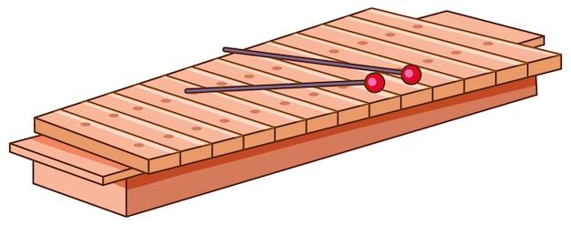 Drewniany ksylofon na białym tle