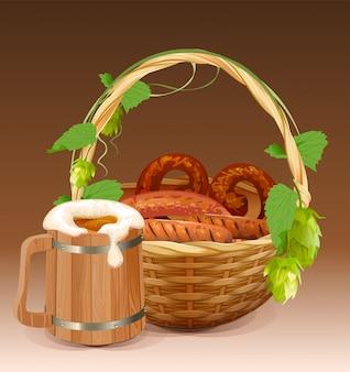 Drewniany kufel do piwa. wiklinowy kosz z preclami i grillowanymi kiełbasami