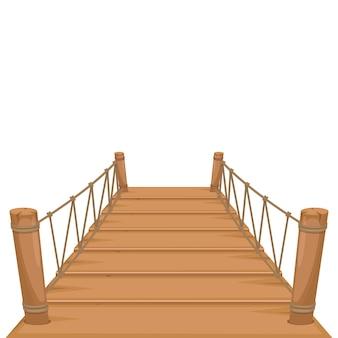 Drewniany most na białym tle