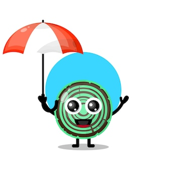 Drewniany parasol maskotka ładny charakter