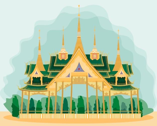 Drewniany pawilon w stylu tajskim. pocztówka.