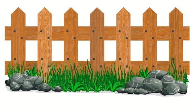 Drewniany płot, kamienie i trawa. ogrodzenia ogrodowe na białym tle. wektor
