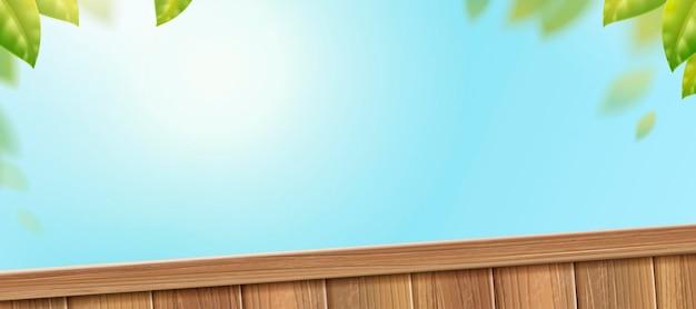 Drewniany płot na bezchmurnym niebie z zielonymi liśćmi w ilustracji 3d