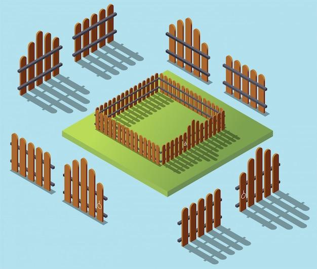 Drewniany płot w izometryczny. ogrodowa zewnętrzna płaska 3d isometric ilustracja. architektura