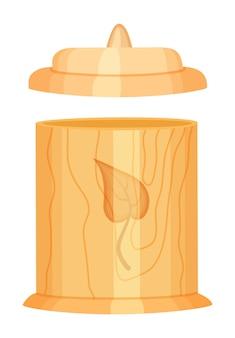 Drewniany pojemnik zbiorczy z zakrętką, ekologiczny projekt, koncepcja zero odpadów, zielone życie, wielokrotnego użytku, materiały organiczne
