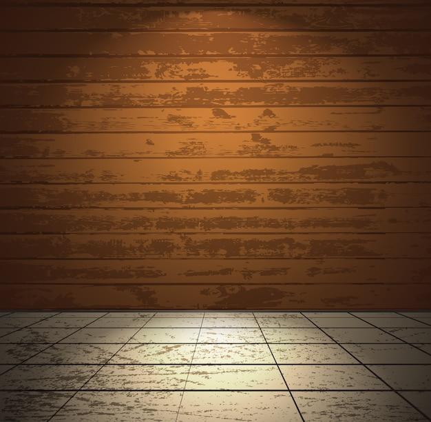 Drewniany pokój z jasną podłogą