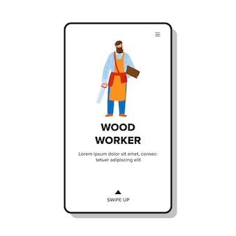 Drewniany pracownik człowiek pobyt z piłą i deską wektor. brodaty pracownik drewna nosi garnitur roboczy i fartuch, trzymając profesjonalny sprzęt do ciężkiej pracy. charakter pracy web ilustracja kreskówka płaskie