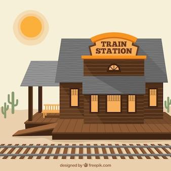Drewniany stacja kolejowa na zachodzie