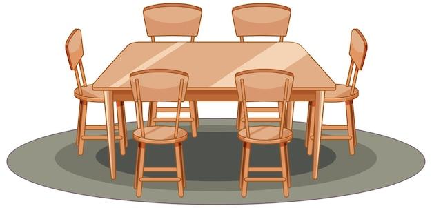 Drewniany stół i krzesło w stylu cartoon na białym tle