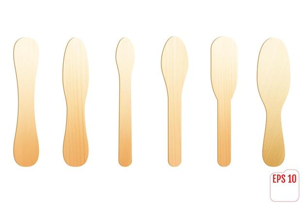 Drewniany sztyft do lodów lub medyczny przyrząd do szpatułek. kij do lodów.