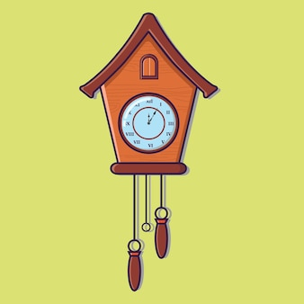 Drewniany zegar ścienny z kukułką vintage ilustracja