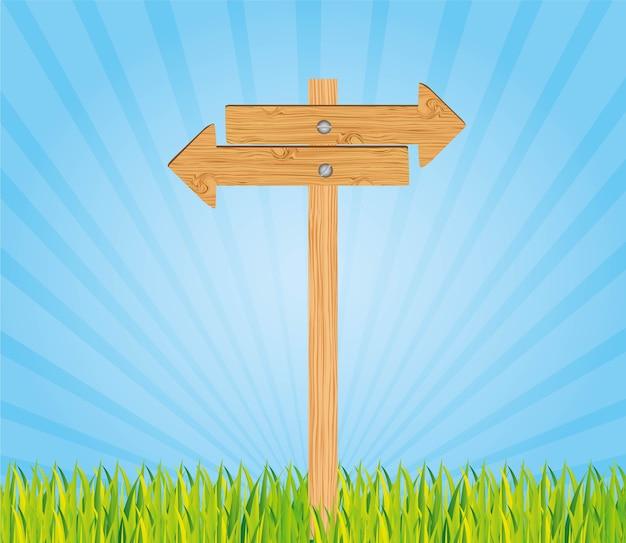 Drewniany znak odizolowywający na białej tło wektoru ilustraci