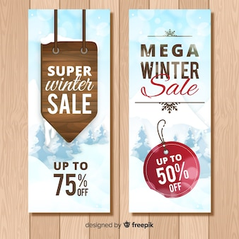 Drewniany znak sprzedaż zimowy transparent