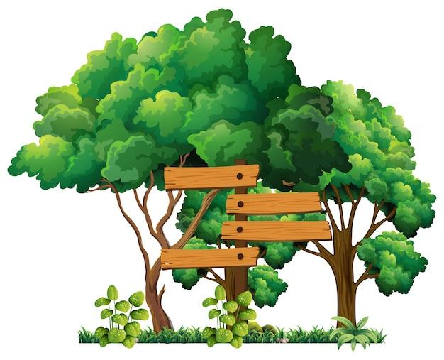 Drewniany znak w ogrodzie