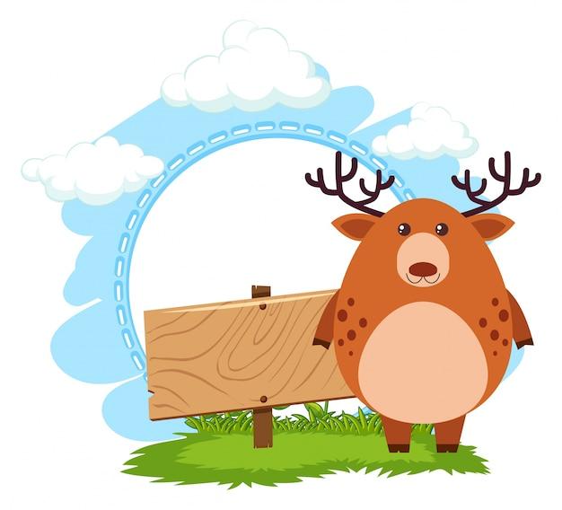 Drewniany znak z brązowy jelenia