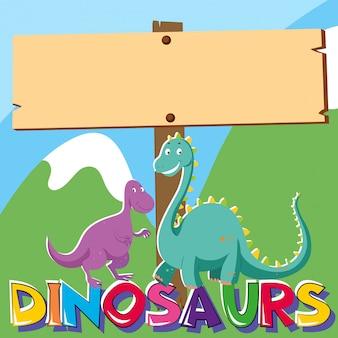 Drewniany znak z dwoma dinozaurami