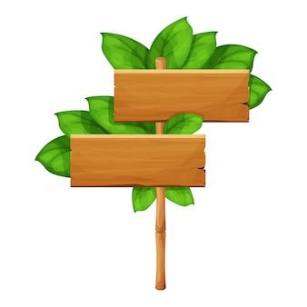 Drewniany znak z zielonymi bambusowymi kijami ozdobionymi tropikalnymi liśćmi pustą ramką