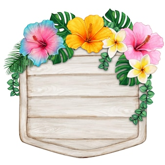 Drewno akwarelowe w paski z tropikalnymi kwiatami