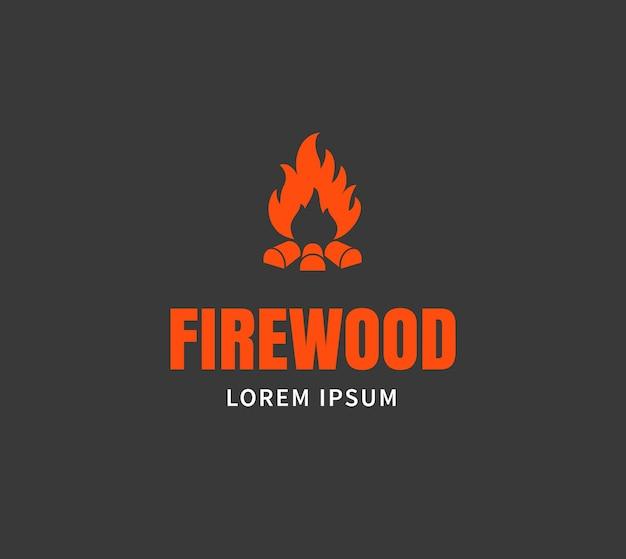 Drewno opałowe godło lub szablon logo. ilustracja wektorowa ogniska