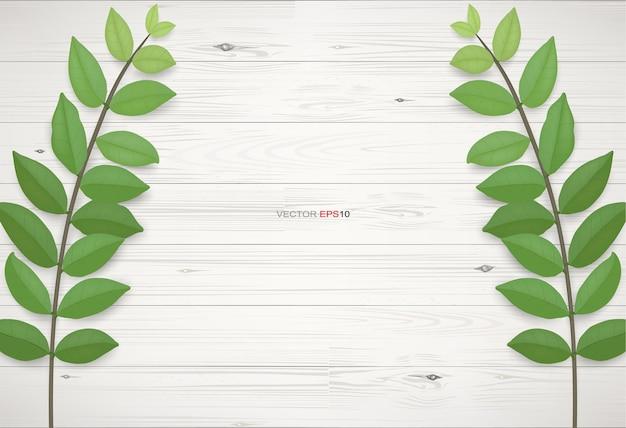 Drewno tekstura tło z zielonymi liśćmi. ilustracja wektorowa realistyczne.