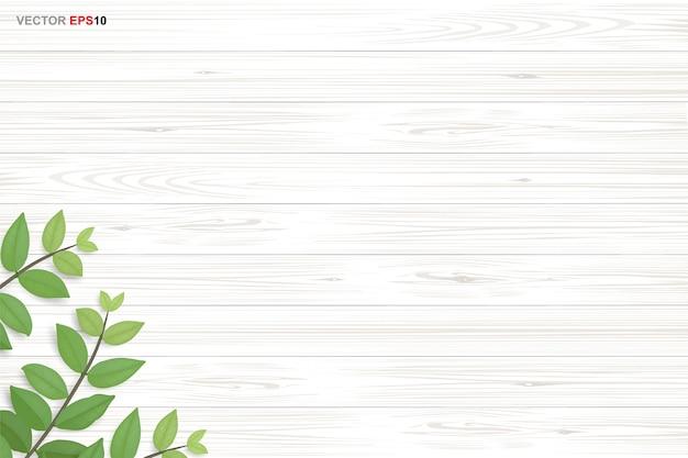 Drewno tekstura tło z zielonymi liśćmi. realistyczny