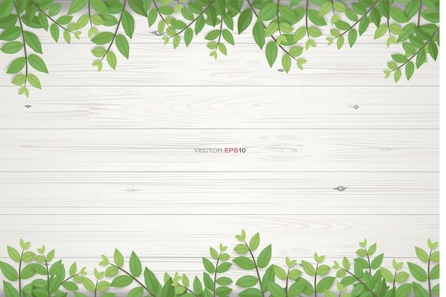 Drewno tekstura tło z zielonymi liśćmi