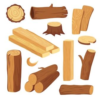 Drewno z kreskówek. drewniana kłoda i pień, pień i deska. elementy drewniane kłody drewna opałowego. drewniane materiały budowlane wektor zestaw na białym tle
