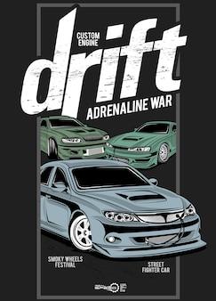Drift adrenaline war, ilustracja niestandardowego samochodu z silnikiem