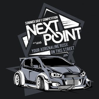 Drift konkurencji, ilustracja samochodu sportowego drift