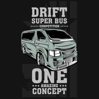 Drift super autobus szybka ilustracja samochodu silnikowego