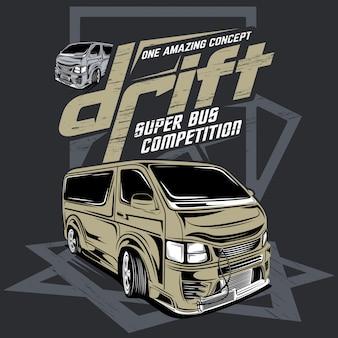 Driftowa rywalizacja w autobusie, ilustracja driftowego samochodu sportowego