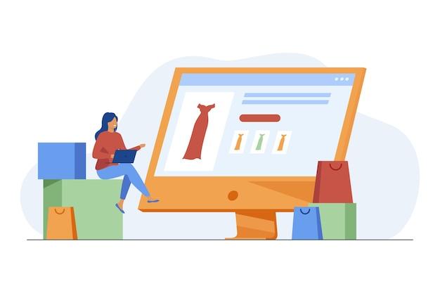 Drobna kobieta wybiera sukienkę w sklepie internetowym za pośrednictwem laptopa. komputer, torba, ubrania płaskie wektor ilustracja. zakupy i technologia cyfrowa