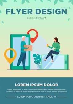 Drobna kobieta zamawia paczkę online przez smartfona. box, internet, ilustracja wektorowa płaski klienta. usługa dostawy i koncepcja technologii cyfrowej