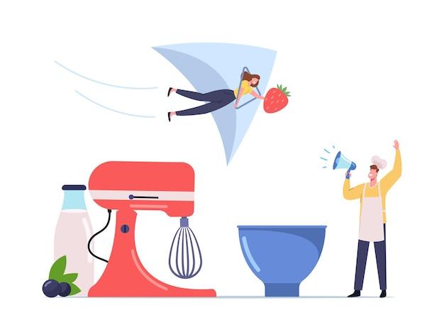 Drobna męska postać w szefie kuchni toque krzycz do megafonu zadzwoń, aby spróbować domowych lodów ze świeżych owoców, jagód i jogurtu