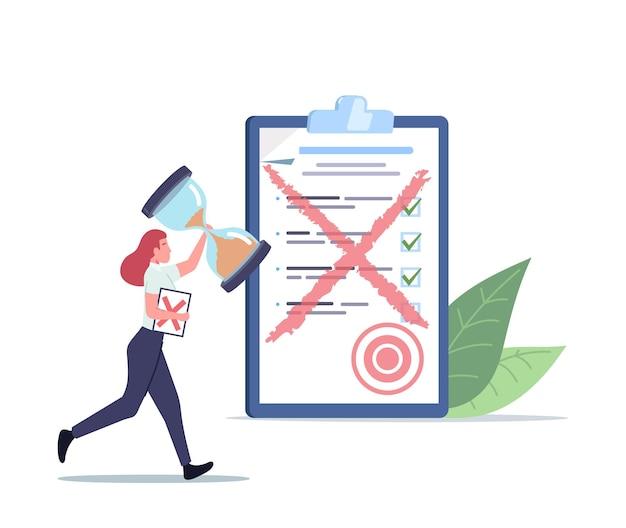 Drobna postać kobieca biegnie z ogromną klepsydrą i papierowym dokumentem z czerwonym krzyżem. pracownik biurowy musi przerobić złą pracę w biurze. błąd, termin stres pojęcie. ilustracja wektorowa kreskówka ludzie