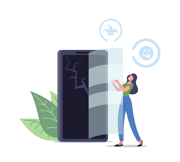 Drobna postać kobieca umieścić szkło na pęknięty ekran smartfona robi psikusa w pierwszy primaaprilisowy dzień. żarty przyjaciele lub koledzy koncepcja, humorystyczna sytuacja. ilustracja wektorowa kreskówka ludzie