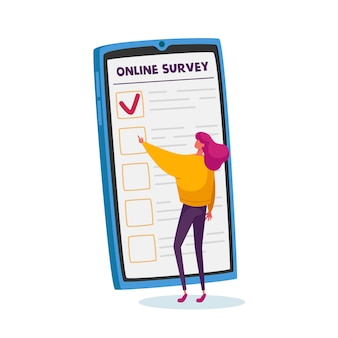 Drobna postać kobieca wypełniająca ankietę online na ogromnym ekranie smartfona. kwestionariusz wyborców, opinie klientów, procedura głosowania